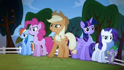 Size: 1920x1080   Tagged: safe, screencap, applejack, pinkie pie, rainbow dash, rarity, spike, twilight sparkle, alicorn, dragon, earth pony, pegasus, pony, bats!, season 4, angry, apple, apple tree, female, fence, male, narrowed eyes, stop the bats, tree, twilight sparkle (alicorn)