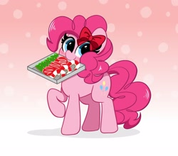 Size: 2500x2200   Tagged: safe, artist:kittyrosie, pinkie pie, earth pony, blushing, bow, candy, candy cane, christmas cookies, cookie, food, hair bow, mouth hold, ribbon, solo
