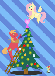 Size: 1872x2592 | Tagged: safe, anonymous artist, big macintosh, fluttershy, oc, oc:late riser, earth pony, pegasus, pony, series:fm holidays, series:hearth's warming advent calendar, abstract background, advent calendar, baby, baby pony, candle, christmas, christmas ornament, christmas tree, colt, decoration, drool, family, female, fluttermac, hearth's warming, hearth's warming tree, holiday, hoof sucking, ladder, lineless, looking up, male, offspring, parent:big macintosh, parent:fluttershy, parents:fluttermac, pointy ponies, shipping, straight, tree