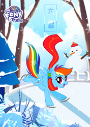 Size: 1080x1527 | Tagged: safe, part of a set, rainbow dash, pegasus, pony, official, blue, chinese, clothes, cute, daxue, ice skates, ice skating, my little pony logo, part of a series, scarf, snow, snowman, solar term, solo, translated in the comments, tree, winter