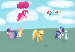 Size: 10000x7000 | Tagged: safe, artist:graphictoxin, applejack, fluttershy, opalescence, pinkie pie, rainbow dash, rarity, twilight sparkle, cat, earth pony, pegasus, pony, unicorn, :<, angry, apple, balloon, book, bow, brush, cheek fluff, clothes, cloud, comb, eyes closed, female, floating, floppy ears, fluffy, fluttershy's cutie mark, flying, food, grass, happy, hat, high res, levitation, lineless, lying down, lying on a cloud, magic, mane six, mare, on a cloud, raised hoof, scared, simple background, sitting, sky, sleeping, sleeping on a cloud, smiling, telekinesis, that pony sure does love apples, then watch her balloons lift her up to the sky, unicorn twilight, white background, wings