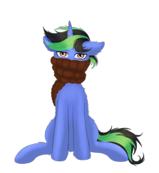 Size: 1116x1215   Tagged: artist needed, safe, oc, oc only, oc:pipa, pony, unicorn, 2021 community collab, derpibooru community collaboration, clothes, commission, looking at you, male, scarf, simple background, solo, stallion, transparent background, winter outfit, ych result