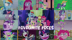 Size: 1958x1101 | Tagged: safe, edit, edited screencap, editor:quoterific, screencap, applejack, fluttershy, pinkie pie, rainbow dash, rarity, spike, starlight glimmer, twilight sparkle, alicorn, best gift ever, fame and misfortune, lesson zero, make new friends but keep discord, marks for effort, party of one, secrets and pies, simple ways, tanks for the memories, the best night ever, the cutie map, :i, chalkboard, derp, do i look angry, faic, floppy ears, flutterrage, i mean i see, mane six, pinkamena diane pie, pudding face, quiet, rarihick, twilight snapple, twilight sparkle (alicorn), twilight's castle, why i'm creating a gown darling, you're going to love me