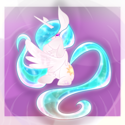 Size: 1000x1000 | Tagged: safe, artist:junko, princess celestia, alicorn, pony, art, chest fluff, digital art, ethereal mane, female, flowing mane, hiding behind wing, hiding face, hoof over face, looking at you, mare, missing accessory, signature, sitting up, solo, spread wings, wings
