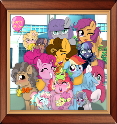 Size: 1153x1215 | Tagged: safe, artist:unoriginai, cheese sandwich, li'l cheese, maud pie, pinkie pie, rainbow dash, scootaloo, oc, oc:celery snap, oc:chicken pot pie, oc:garage rock, oc:geode, oc:monochrome mayhem, oc:party pop, oc:slapstick, oc:sugar crash, oc:sweet potato pie, earth pony, pegasus, pony, the last problem, adopted daughter, baby, baby pony, balloon, blushing, cheesepie, cheesepiedash, crying, cute, family, family photo, female, flying, lesbian, looking at you, magical lesbian spawn, male, maudwich, next generation, not incest, offspring, older, older cheese sandwich, older pinkie pie, one eye closed, open mouth, parent:cheese sandwich, parent:maud pie, parent:pinkie pie, parent:rainbow dash, parents:cheesepie, parents:maudwich, parents:pinkiedash, picture, picture frame, pinkiedash, polyamory, rubber chicken, shipping, smiling, straight, tears of joy, tongue out, twins, wink