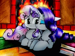 Size: 3071x2303 | Tagged: safe, artist:liaaqila, rarity, sweetie belle, pony, unicorn, book, commission, cute, diasweetes, duo, eye clipping through hair, female, filly, fire, fireplace, high res, kiss on the cheek, kissing, mare, platonic kiss, raribetes, sibling love, siblings, sisterly love, sisters, traditional art