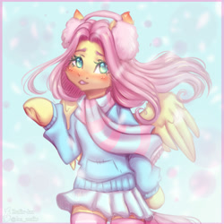 Size: 2000x2000   Tagged: safe, artist:zefirka, fluttershy, pegasus, pony, semi-anthro, blushing, cheek fluff, clothes, cute, ear fluff, earmuffs, female, high res, looking at you, mare, shyabetes, skirt, snow, snowfall, solo, stockings, sweater, sweatershy, thigh highs, winter
