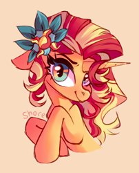 Size: 2894x3583   Tagged: safe, artist:shore2020, sunset shimmer, pony, unicorn, beige background, bust, cute, female, flower, flower in hair, high res, horn, looking at you, mare, portrait, shimmerbetes, simple background, smiling, solo