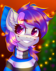 Size: 1320x1657 | Tagged: safe, artist:falafeljake, oc, oc only, earth pony, pony, blushing, bow, christmas, christmas tree, clothes, ear fluff, eye clipping through hair, female, hair bow, holiday, looking at you, mare, smiling, solo, sweater, tree