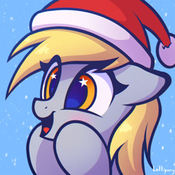 Size: 1000x1000 | Tagged: safe, artist:lollipony, derpy hooves, pegasus, pony, blushing, bust, christmas, commission, cute, derpabetes, eye clipping through hair, female, floppy ears, happy, hat, holiday, mare, open mouth, portrait, santa hat, smiling, snow, solo, starry eyes, wingding eyes