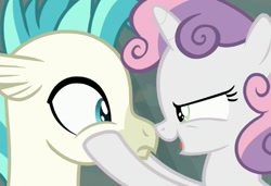 Size: 508x348 | Tagged: safe, edit, edited screencap, screencap, sweetie belle, terramar, hippogriff, pony, surf and/or turf, boop, cropped, noseboop