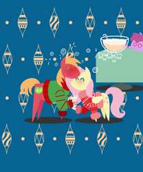Size: 1800x2160 | Tagged: safe, anonymous artist, berry punch, berryshine, big macintosh, fluttershy, earth pony, pegasus, pony, series:fm holidays, series:hearth's warming advent calendar, abstract background, advent calendar, alcohol, blushing, christmas, christmas sweater, clothes, drunk, drunk bubbles, drunkershy, eggnog, eyes closed, female, fluttermac, holiday, lineless, male, pointy ponies, red face, shipping, soon, straight, sweater