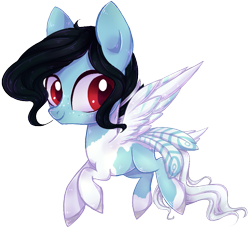 Size: 673x616 | Tagged: safe, artist:misspinka, oc, oc:kayden, pegasus, pony, chibi, female, mare, simple background, solo, tail feathers, transparent background