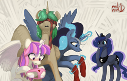 Size: 2000x1282   Tagged: safe, artist:redruin01, princess luna, oc, oc:arcane aria, oc:mountain melody, oc:storm song, alicorn, pony, alicorn oc, blushing, clothes, horn, magic, necktie, panties, signature, simple background, smiling, socks, underwear, wings