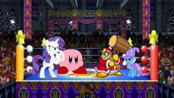 Size: 960x540 | Tagged: safe, artist:mariorobles2, artist:seahawk270, rarity, trixie, pony, unicorn, waddle dee, waddle doo, angry, bipedal, cape, clothes, crossover, hat, king dedede, kirby, kirby (character), kirby super star ultra, luigi, mario, nintendo, princess peach, super mario bros., toad (mario bros), trixie's cape, trixie's hat, vector, wario