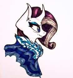 Size: 1280x1369 | Tagged: safe, artist:herding-furbies, rarity, pony, unicorn, the last problem, bust, cloak, clothes, curved horn, ear fluff, eyeshadow, female, fierce, horn, makeup, mare, older, older rarity, profile, simple background, smiling, solo, traditional art, white background