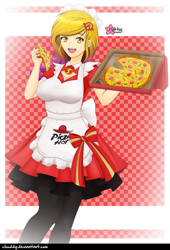 Size: 839x1235 | Tagged: safe, artist:clouddg, oc, oc:citrine, human, equestria girls, apron, clothes, dress, female, food, meat, open mouth, pepper, pepperoni, pepperoni pizza, pizza, pizza box, signature, solo