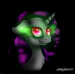 Size: 1081x1072   Tagged: safe, artist:littlefish101, rarity, pony, unicorn, black background, bust, chest fluff, crying, female, floppy ears, insanity, looking at you, mare, messy mane, part of a set, red eyes, simple background, smiling, solo, sombra eyes