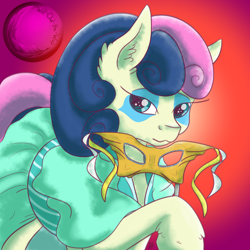 Size: 1280x1280 | Tagged: safe, artist:will-owl-the-wisp, bon bon, sweetie drops, earth pony, pony, clothes, domino mask, dress, ear fluff, face paint, female, gradient background, looking at you, mare, mask, raised hoof, solo