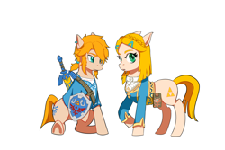 Size: 3600x2400 | Tagged: safe, artist:qq961130277, earth pony, pony, belt, blouse, braid, breath of the wild, clothes, crossover, cutie mark, duo, female, floppy ears, link, looking at you, male, mare, princess zelda, raised hoof, shield, simple background, sitting, stallion, sword, the legend of zelda, tunic, video game crossover, weapon, white background