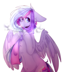 Size: 1620x1812 | Tagged: safe, artist:keltonia, oc, oc only, oc:shooting star, pegasus, pony, belly button, bipedal, breath, cheek fluff, chest fluff, clothes, cutie mark, female, floppy ears, frown, hoof hold, looking sideways, mare, scarf, simple background, solo, transparent background