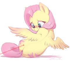 Size: 1884x1640 | Tagged: safe, artist:buttersprinkle, fluttershy, pegasus, pony, behaving like a cat, both cutie marks, cute, female, laser pointer, looking back, mare, shyabetes, simple background, solo, spread wings, white background, wings, worried