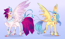 Size: 5000x3000 | Tagged: safe, artist:bunnari, princess skystar, queen novo, hippogriff, my little pony: the movie, duo, female, jewelry, mother and child, mother and daughter, regalia, signature, simple background, smiling, spread wings, wings
