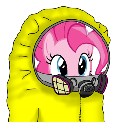 Size: 922x922 | Tagged: safe, pinkie pie, earth pony, pony, cute, female, gas mask, hazmat suit, looking at you, mare, mask, simple background, solo, transparent background