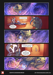 Size: 3541x5016 | Tagged: safe, artist:freeedon, artist:lummh, oc, oc:appolonia, oc:aurora, oc:selendis, pony, unicorn, comic:the lost sun, baby, baby pony, blizzard, collaboration, comic, cute, eyes closed, female, filly, flashback, foal, glowing eyes, glowing horn, horn, horn ring, jealous, levitation, magic, mare, mother and child, mother and daughter, patreon, patreon logo, self-levitation, snow, snowfall, speech bubble, telekinesis