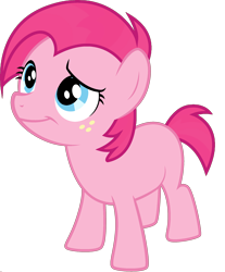 Size: 1920x2314 | Tagged: safe, edit, vector edit, babs seed, pinkie pie, earth pony, ponyar fusion, female, filly, freckles, fusion, recolor, simple background, smiling, solo, transparent background, vector