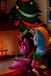Size: 570x840   Tagged: safe, artist:skyheavens, spike, twilight sparkle, oc, oc:harmony star, alicorn, alicorn oc, canon x oc, christmas, christmas tree, female, fire, fireplace, holiday, male, mug, present, shipping, straight, tree, twimony
