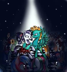 Size: 1704x1828 | Tagged: safe, artist:frostykat13, bon bon, derpy hooves, rarity, sweetie drops, trixie, oc, oc:harmony star, alicorn, alicorn oc, clothes, dancing, dress, spotlight