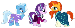 Size: 5188x2000 | Tagged: safe, artist:sketchmcreations, starlight glimmer, sunburst, trixie, unicorn, the last problem, spoiler:s09e26, cloak, clothes, counselor trixie, female, headmare starlight, looking at each other, male, mare, older, older starlight glimmer, older sunburst, older trixie, open mouth, raised hoof, simple background, skirt, smiling, stallion, suit, sunburst the bearded, transparent background, trio, vector