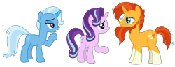 Size: 5188x2000 | Tagged: safe, alternate version, artist:sketchmcreations, starlight glimmer, sunburst, trixie, unicorn, the last problem, spoiler:s09e26, counselor trixie, female, headmare starlight, looking at each other, male, mare, older, older starlight glimmer, older sunburst, older trixie, open mouth, raised hoof, simple background, smiling, stallion, sunburst the bearded, transparent background, trio, vector