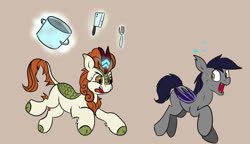 Size: 1061x613 | Tagged: safe, artist:jellymaggot, edit, editor:padgriffin, autumn blaze, oc, oc:echo, bat pony, kirin, pony, /mlp/, 4chan, bat pony oc, butcher knife, chase, cleaver, coronavirus, covid-19, drawthread, duo, ear tufts, eyes on the prize, female, fork, gray background, leg fluff, levitation, magic, mare, missing cutie mark, open mouth, pot, raised hoof, running, scared, simple background, sweat, sweat drop, telekinesis, tongue out, wide eyes