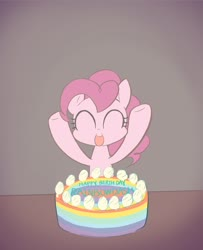 Size: 1544x1898 | Tagged: safe, artist:noupu, pinkie pie, earth pony, pony, birthday, birthday cake, cake, cute, diapinkes, eyes closed, female, food, happy birthday, implied rainbow dash, mare, open mouth, rainbow dash day, rainbow dash's birthday, solo