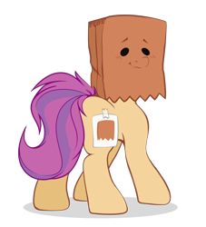 Size: 2000x2200 | Tagged: safe, artist:etoz, oc, oc:paper bag, earth pony, cute, fake cutie mark, female, paper bag, simple background, transparent background