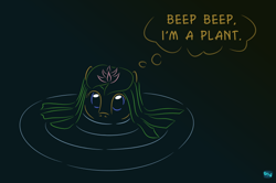 Size: 700x466 | Tagged: safe, artist:quint-t-w, oc, oc only, oc:little willow, earth pony, pony, beep beep, gradient background, lilypad, looking at you, minimalist, modern art, old art, ripple, solo, submerged, thinking, thought bubble, water, water lily