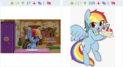Size: 457x248   Tagged: safe, editor:fluttershyisnot adoormat, rainbow dash, pegasus, pony, derpibooru, my little pony: pony life, angry, bipedal, cake, candy, female, food, juxtaposition, mare, meme, meta, sweets