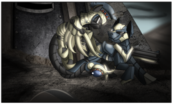 Size: 2800x1700 | Tagged: safe, artist:elmutanto, oc, oc only, oc:pale shroud, pegasus, pony, robot, fallout equestria, fanfic:fallout equestria: broken oaths, male, stable 137 robot, stallion