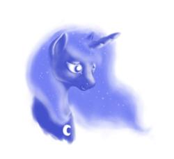 Size: 768x704 | Tagged: safe, artist:grayma1k, princess luna, alicorn, pony, bust, limited palette, monochrome, simple background, solo, white background