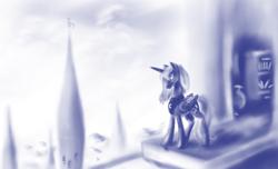 Size: 900x547 | Tagged: safe, artist:grayma1k, princess luna, alicorn, pony, balcony, book, bookcase, canterlot, globe, monochrome, solo