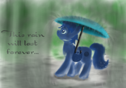Size: 1024x716 | Tagged: safe, artist:grayma1k, earth pony, pony, bag, rain, random pony, saddle bag, solo, umbrella