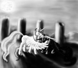 Size: 1380x1200 | Tagged: safe, artist:grayma1k, nightmare moon, princess celestia, alicorn, pony, castle of the royal pony sisters, crying, duo, grayscale, hug, hurt/comfort, monochrome, moon, ruins, winghug