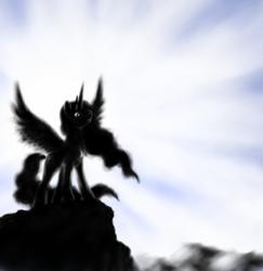 Size: 1000x1028 | Tagged: safe, artist:grayma1k, princess celestia, alicorn, pony, silhouette, solo, spread wings, wings