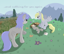 Size: 1024x866 | Tagged: safe, artist:grayma1k, derpy hooves, oc, oc:dreamcatcher (grayma1k), earth pony, pegasus, pony, duo, fence, field, mail, mailbag, outdoors