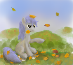 Size: 1024x913 | Tagged: safe, artist:grayma1k, oc, oc only, oc:dreamcatcher (grayma1k), earth pony, autumn, autumn leaves, grass, grass field, leaf, leaves, letter, mouth hold, mushroom, sitting, solo