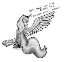 Size: 800x686 | Tagged: safe, artist:grayma1k, princess luna, alicorn, pony, book, grayscale, looking back, monochrome, one wing out, s1 luna, simple background, sitting, solo, white background, wings