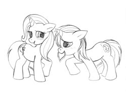 Size: 1182x892   Tagged: safe, artist:blazelupine, trixie, oc, oc:pickles, pony, unicorn, blushing, duo, female, filly, foal, hearts and hooves day, horn, male, monochrome, simple background, traditional art, trikles, white background