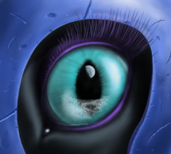 Size: 1698x1524 | Tagged: safe, artist:grayma1k, nightmare moon, alicorn, pony, close-up, extreme close up, eye, eyelashes, female, helmet, mare, moon, on the moon, planet, reflection, slit eyes, slit pupils, solo
